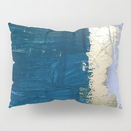 Rain [1]: a minimal, abstract mixed-media piece in blues, white, and gold by Alyssa Hamilton Art Pillow Sham