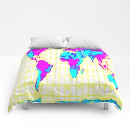 World Map: Gall Peters Colorful Comforters