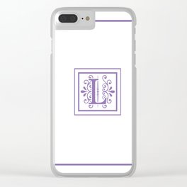 Monogram Letter L in Violet and White Clear iPhone Case