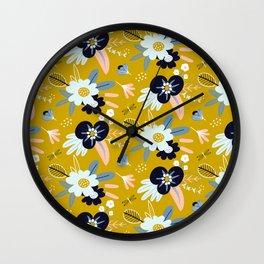 Mustard Yellow and Navy Floral Wall Clock