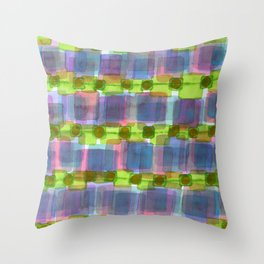 Purple Square Rows with Fluorescent Green Strips Throw Pillow