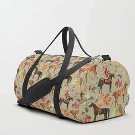 AUTUMN HORSES - Sage green  Duffle Bag