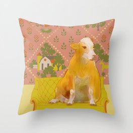 Farm Animals in Chairs #1 Cow Throw Pillow