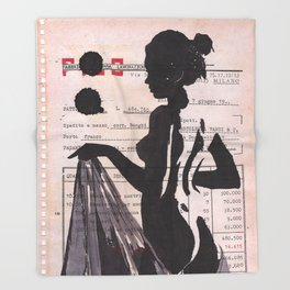 Emma - ink drawing over vintage commercial invoice Throw Blanket