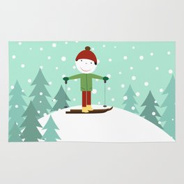 Small skier Rug