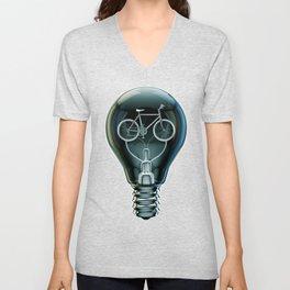 Dark Bicycle Bulb Unisex V-Neck