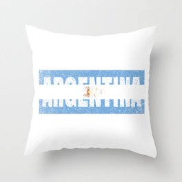 Argentinian Flag Vintage Argentina Country Gift Throw Pillow