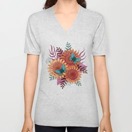 Sunflowers and butterflies Unisex V-Neck