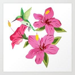Hibiscus & Hummingbird Art Print