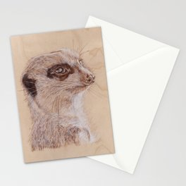Meerkat Portrait - Drawing by Burning on Wood - Pyrography Art Stationery Cards
