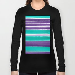 Teal and Purple Watercolor Stripes Long Sleeve T-shirt