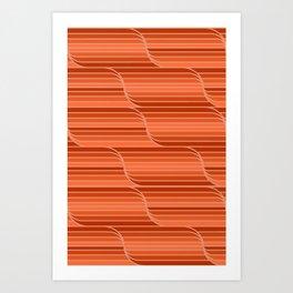 Geo Stripes - Rust Orange Art Print