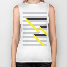 Spun yellow and grey stripes Biker Tank
