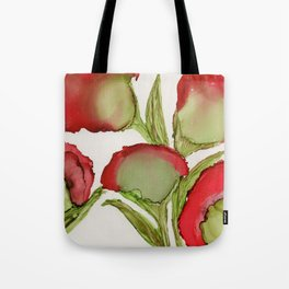 Red Flowers By Heather Hayes Tote Bag