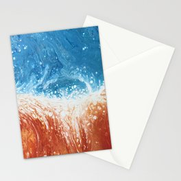 Fire and Ice Orange and Blue Abstract Fluid Art Stationery Cards