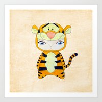 tigger Art Prints featuring A Boy - Tigger by Christophe Chiozzi