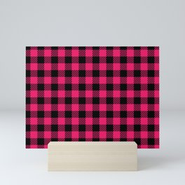 hot pink and black check Mini Art Print
