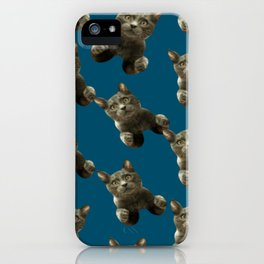 night sky skydiving funny flying cat iPhone Case
