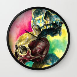 Colorful Skulls Wall Clock