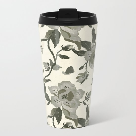 Black Magnolia Pattern Metal Travel Mug