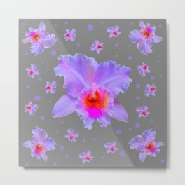GREY ART TROPICAL LILAC CATTLEYA ORCHID FLOWERS Metal Print