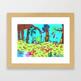 Dinosaur Battle_2 Framed Art Print