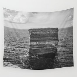 Dun Briste II Black and White Wall Tapestry