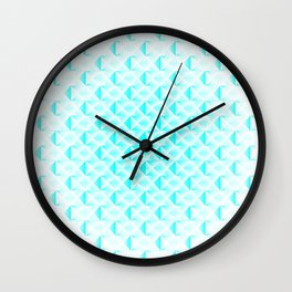 Braided light pattern of sky squares and blue rhombuses with diagonal volumetric triangles. Wall Clock