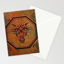 Tribal Dragon Head In Octagon With Dragon Chinese Characters Stationery Cards