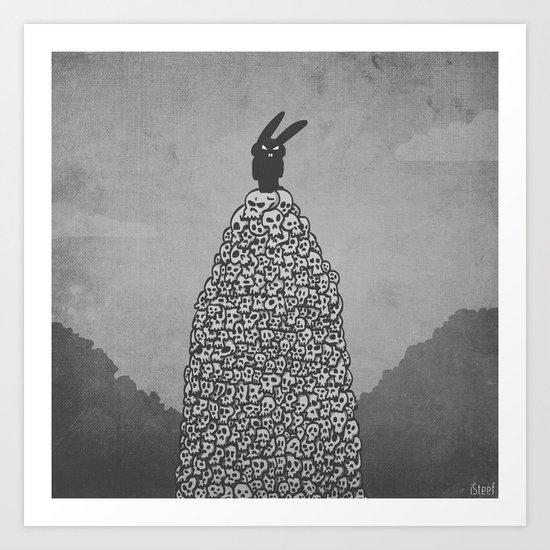 The Black Bunny of Doom in his natural habitat Art Print