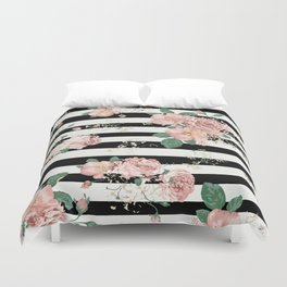 VINTAGE FLORAL ROSES BLACK AND WHITE STRIPES Duvet Cover