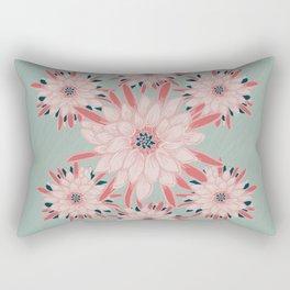 Cactus Flower Pink & Turquoise_oil painting Rectangular Pillow