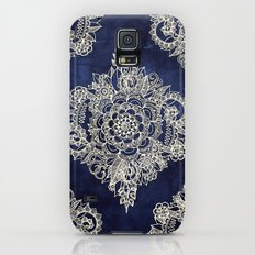 Cream Floral Moroccan Pattern on Deep Indigo Ink Slim Case Galaxy S5