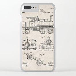 Train Locomotive Patent - Steam Train Art - Antique Clear iPhone Case