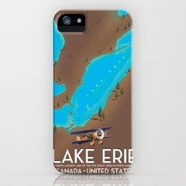 Lake Erie, USA lake Map iPhone Case