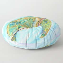Swimming, Smiling Sea Turtle Floor Pillow