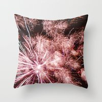 fireworks Throw Pillows featuring Fireworks by For the easily distracted...