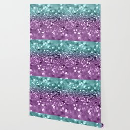 Aqua Purple MERMAID Girls Glitter #2 #shiny #decor #art #society6 Wallpaper