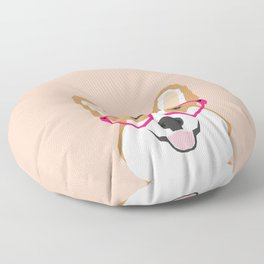 Corgi Love - Valentines heart shaped glasses on funny dog for dog lovers pet gifts customizable dog  Floor Pillow
