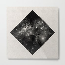 Space Diamond - Abstract, geometric space scene in black and white Metal Print