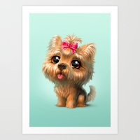 terrier Art Prints featuring Yorkshire Terrier by Antracit