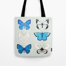 Lepitoptery No. 2 - Blue and White Butterflies and Moths Tote Bag