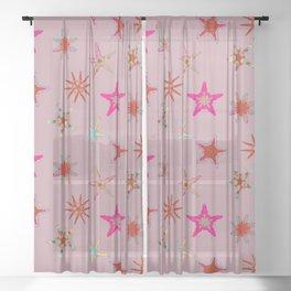 Fish tales: Starfish pattern 1e Sheer Curtain