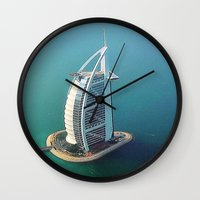 arab Wall Clocks featuring Dubai - Burj Al Arab Hotel by Art-Motiva