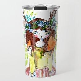 Girl and fox Travel Mug