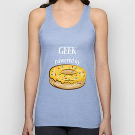 Geek T-Shirt Geek Powered By Donuts Gift Apparel Unisex Tank Top