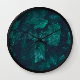 Dark emerald green ivy leaves water drops Wall Clock