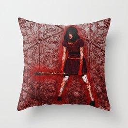 Linda - Blood-Soaked, Holding Bat Throw Pillow