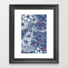 red and blue wavy floral Framed Art Print