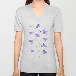 purple wildflower harebell watercolor Unisex V-Neck